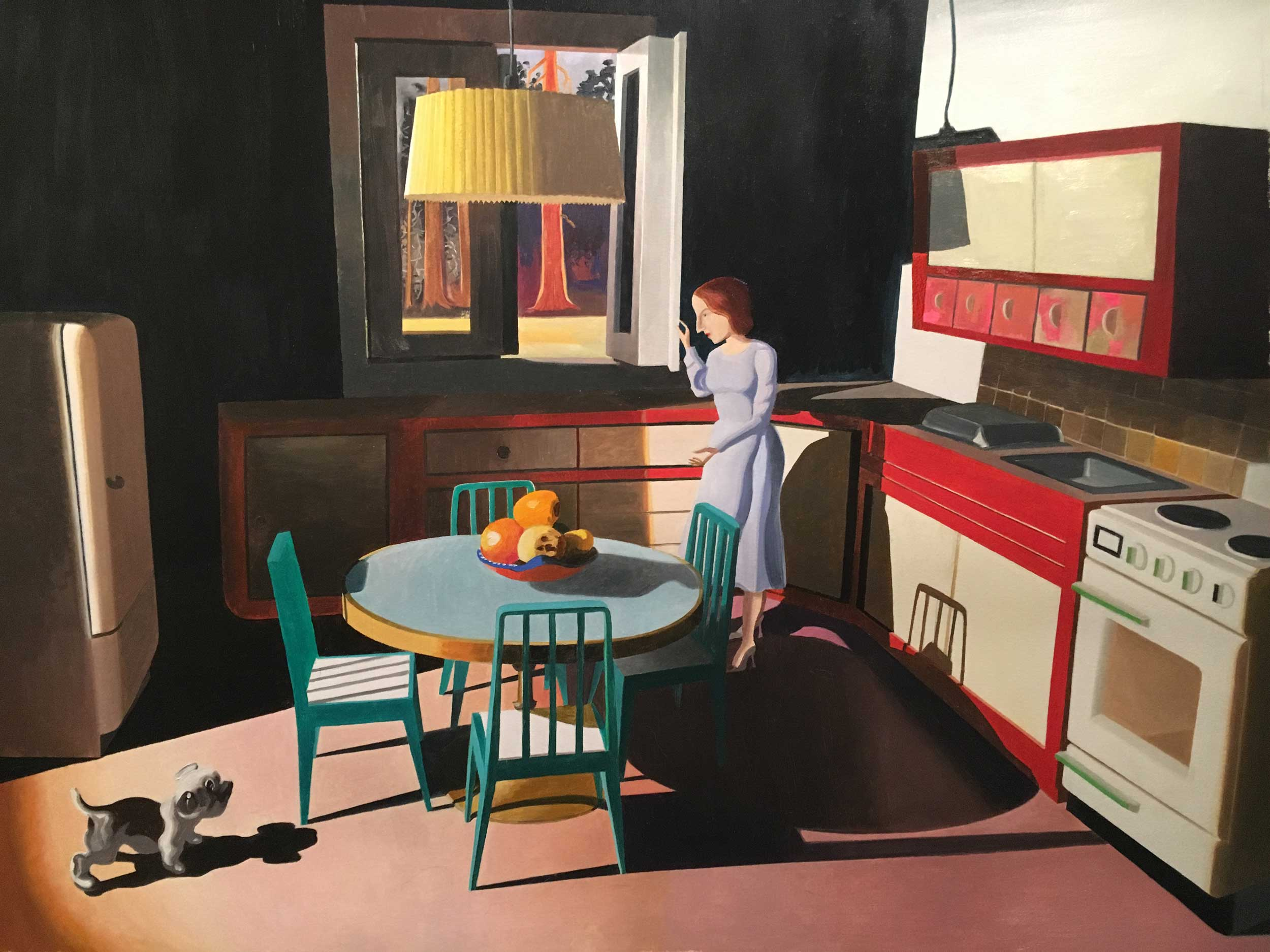 Painting of woman and dog in kitchen